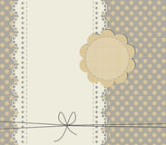 Cute baby shower card with copy space. Stylish background with lace frame and trendy texture Stock Photography