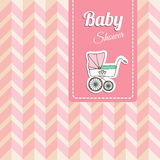 Cute baby shower card, invitation with baby carriage,  Royalty Free Stock Photography
