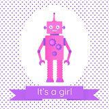 Cute baby shower card with a robot. In a cartoon style. Pink and violet shades. It`s a girl Royalty Free Stock Photo