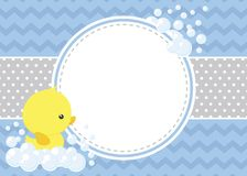 Cute Baby Shower Card With Little Baby Rubber Duck Stock Photography