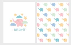 Cute Baby Shower Hand Drawn Illustration Set.Pastel Colors Little Elephants Card and Pattern. Cute Baby Shower Illustration Set. Hand Drawn Blue Letters. White royalty free illustration