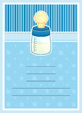 Cute Baby Shower invitation card. Baby Bottle Stock Photos