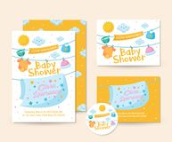 Cute Baby Blanket And Clothing Theme Baby Shower Invitation Card Illustration Template. Cute Baby Shower Invitation Card Illustration Template, suitable for Royalty Free Stock Photography