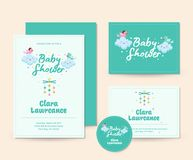 Cute Cloud Theme Baby Shower Invitation Card Illustration Template. Cute Baby Shower Invitation Card Illustration Template, suitable for print, brochure, flyer Stock Images