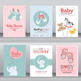 Cute baby shower invitation. vector. Happy birthday, baby shower for newborn celebration greeting and invitation card or note.  there are shoes, elephant, teddy Royalty Free Stock Photo