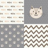 Cute baby shower pattern with a cat Royalty Free Stock Photography