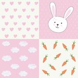 Cute baby shower pattern with rabbit Royalty Free Stock Image