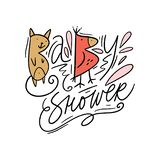 Cute baby shower vector illustration, hand lettering and decoration elements stock illustration