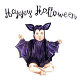 Cute Baby sitting in bat costume. Hand Painted Watercolor Illustration : Cute Baby sitting in bat costume Stock Images