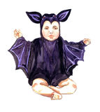 Cute Baby sitting in bat costume. Hand Painted Watercolor Illustration Isolated: Cute Baby sitting in bat costume Stock Photography