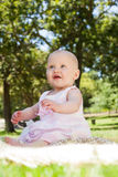 Cute baby sitting on blanket at park. Full length of a cute baby sitting on blanket at the park Royalty Free Stock Image