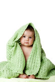 Cute baby sitting between green blanket. Beautiful cute innocent Caucasian Hispanic baby face while sitting and covered between green knitted blankets, isolated Stock Image