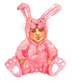 Cute baby sitting in pink rabbit (hare) costume. Hand Painted Watercolor Illustration Isolated: Cute baby sitting in pink rabbit (hare) costume Royalty Free Stock Image