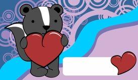 Cute baby skunk cartoon valentine love card Royalty Free Stock Photos
