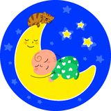Cute baby sleeping on the moon Stock Images