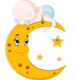 Cute baby sleeping on the moon. Illustration of The baby sleep on the moon Stock Image