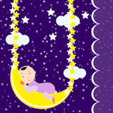 Cute baby sleeping on the moon Royalty Free Stock Photography