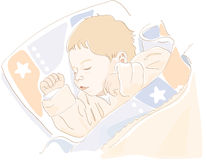 Cute baby sleeping. Vector Royalty Free Stock Photos