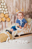 Cute baby in a sleigh - happiness Stock Images