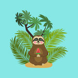 Cute baby sloth eating watermelon ice cream. Cartoon character. Wild jungle animal collection. Baby education. Isolated Stock Photo