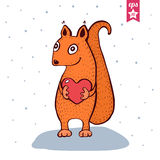 Cute Baby Squirrel with heart in hands. Royalty Free Stock Image