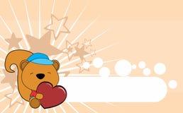 Cute baby squirrel valentine cartoon hug heart background Royalty Free Stock Photography
