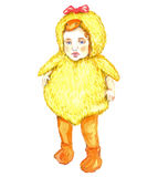 Cute baby standing in duck costume. Hand Painted Watercolor Illustration Isolated: Cute baby standing in duck costume Royalty Free Stock Images
