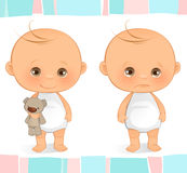 Cute Baby. A cute baby standing. Sad and Happy Stock Images