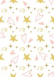 Cute baby star hearts seamless pattern seamless Princess pink background Vector. Cute baby yellow star pink hearts seamless pattern Girl or mothers print stock illustration