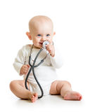 Cute baby with stethoscope in hands Royalty Free Stock Image