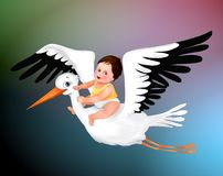 Cute baby and stork greeting , cute boy  greeting card, stork, baby  child illustration , human   life, birthday. Cute baby and stork greeting , cute boy stock illustration