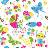 Cute baby stroller hearts flowers toys and animals pattern. Illustration of colorful baby stroller hearts flowers birds butterflies bees ladybugs fish and toys Stock Photography