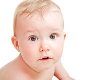 Cute baby with surprised face expression Royalty Free Stock Photos