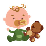 Cute baby with a teddy bear  illustration cartoon character Royalty Free Stock Images