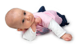 Cute baby in thinking pose Royalty Free Stock Photos