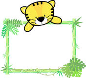 Cute baby tiger on blank board Stock Photography