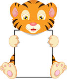 Cute baby tiger cartoon and blank sign Royalty Free Stock Photo