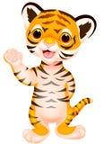 Cute baby tiger cartoon waving. Illustration of Cute baby tiger cartoon waving Stock Photos