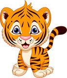 Cute baby tiger cartoon. On a white background Stock Photography