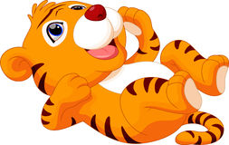 Cute baby tiger cartoon. With white background Stock Photo