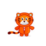 Cute Baby Tiger in the Hoodie. Funny Smiling Little Tiger cartoon character. Winter or Christmas vector illustration isolated on white background Royalty Free Stock Photo