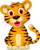 Cute baby tiger sitting. Illustration of cute baby tiger sitting Royalty Free Stock Photo