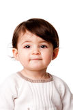 Cute baby toddler face. Face of a cute adorable baby infant toddler with innocent expression, isolated