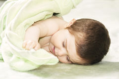 Cute baby with towel Stock Photo