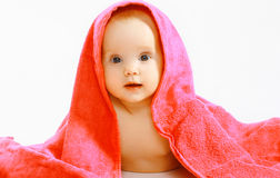 Cute baby and towel. Portrait Stock Image