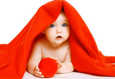 Cute baby and towel Stock Images