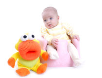 Cute baby with toy isolated Stock Photos