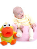 Cute baby with toy isolated Royalty Free Stock Photos