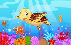 Cute baby turtle cartoon with collection fish Royalty Free Stock Photos