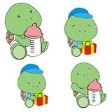Cute baby turtle cartoon feeding bottle collection. Cute baby animal cartoon holding feeding bottle collectionin vector format very easy to edit vector illustration